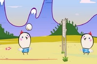 Die Eier spielen Volleyball